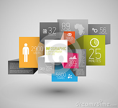 Free Vector Abstract Squares And Cubes Background Illustration / Infographic Template Royalty Free Stock Image - 32927206