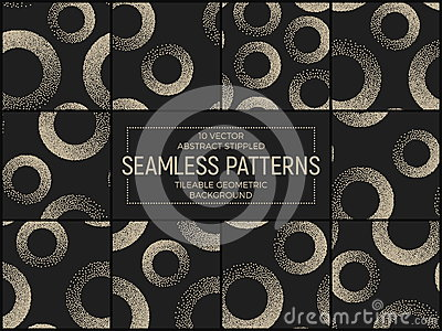 Vector Abstract Stippled Seamless Patterns Vector Illustration