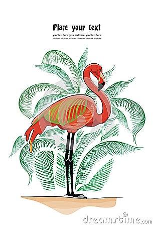 Vector achtergrond met flamingo