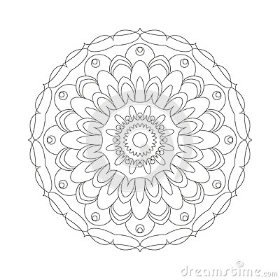 Free Vector Adult Coloring Book Circular Pattern Mandala Abstract Flower Black And White - Floral Background Stock Image - 66307291