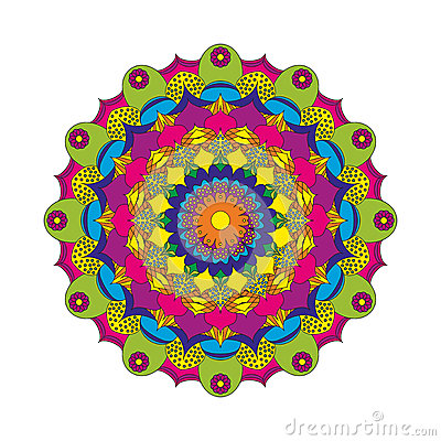 Free Vector Adult Coloring Book Circular Pattern Mandala Flower Colored - Floral Background Royalty Free Stock Photography - 66307307