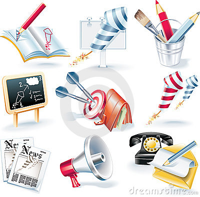 Free Vector Advertising Campaign Icon Set Royalty Free Stock Images - 9487789