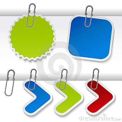 Free Vector Advertising Labels With Paperclip Royalty Free Stock Photos - 19177428
