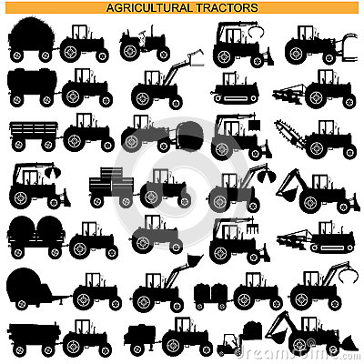 Free Vector Agricultural Tractor Pictograms Royalty Free Stock Photos - 43557078