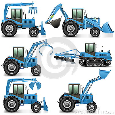 Free Vector Agricultural Tractor Set 3 Stock Images - 40860214