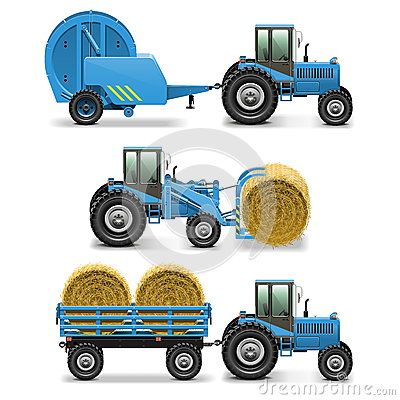 Free Vector Agricultural Tractor Set 5 Royalty Free Stock Photography - 40860297