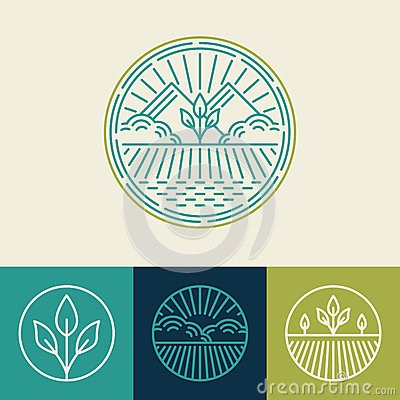 Free Vector Agriculture And Organic Farm Line Logos Stock Photography - 48908442
