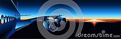 Vector airbus at sunrise