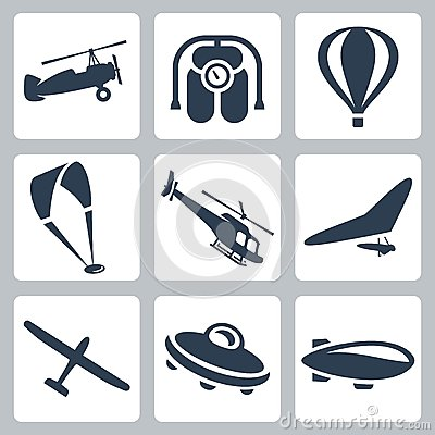 Free Vector Aircrafts Icons Set Stock Image - 34986731