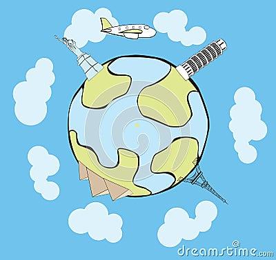Vector airplane traveling around the globe