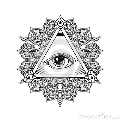 Free Vector All Seeing Eye Pyramid Symbol. Tattoo Design. Vintage Han Royalty Free Stock Image - 62804026