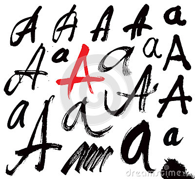 Vector letters of the alphabet written with a brus