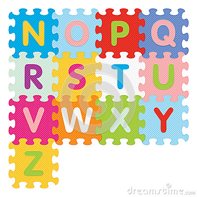 Vector alphabet from N to Z written with puzzle