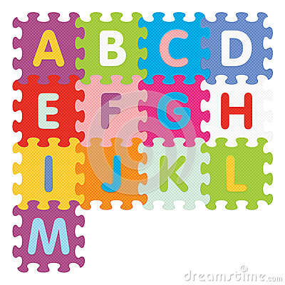 Vector alphabet from A to M written with puzzle