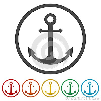 Free Vector Anchor Icon, Ship Anchor Or Boat Anchor Flat Icon, 6 Colors Included Stock Images - 112558824