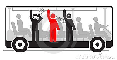 Vector angry passenger in bus full of people