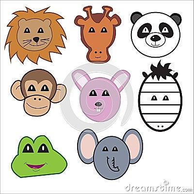Vector animal faces
