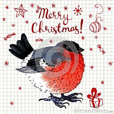 Vector aquarell gru karte froher weihnachten mit vogel - Aquarell weihnachten ...