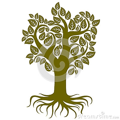 Free Vector Art Illustration Of Tree With Strong Roots. Royalty Free Stock Photography - 60867117