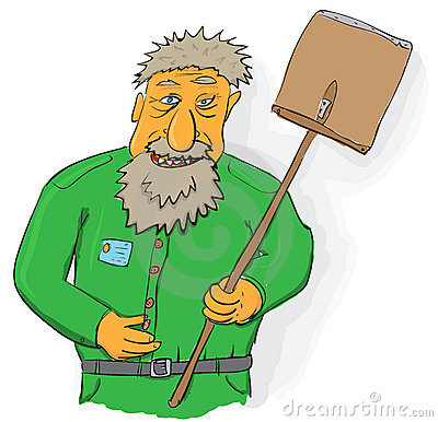 Vector art - janitor with big shovel