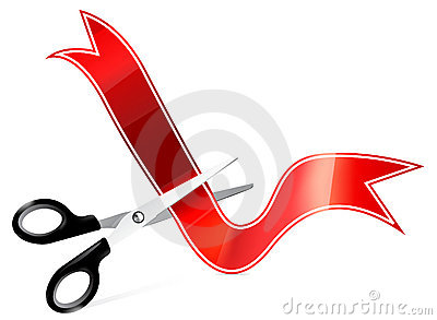 Vector art of scissors cutting ribbon