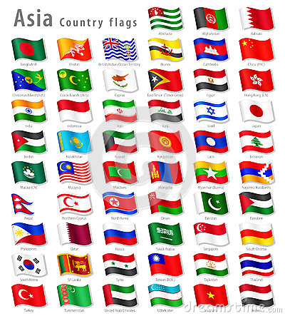 Free Vector Asian National Flag Set Stock Images - 38222384