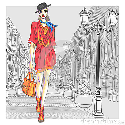 Vector attractive fashion girl goes for St. Peters