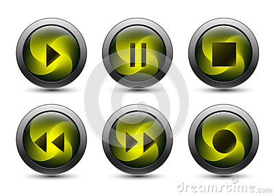 Vector audio buttons with gray frame