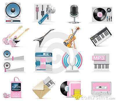 Vector audio and music icon set