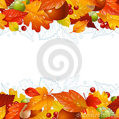 Free Vector Autumn Background With Fall Leaf Stock Photography - 27182462