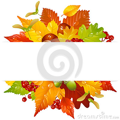 Free Vector Autumn Frame With Fall Leaf 2 Royalty Free Stock Image - 26329686