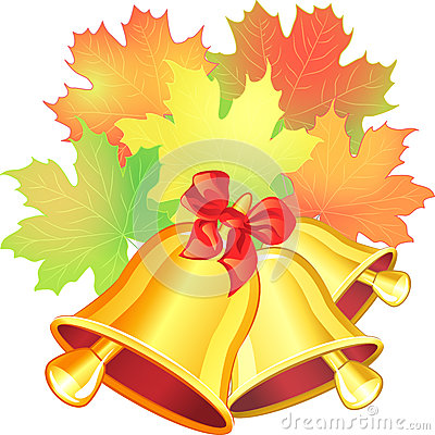 Vector autumn scene with a maple leaf and the scho