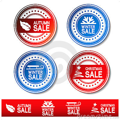 vector autumn, winter, Christmas sale stickers