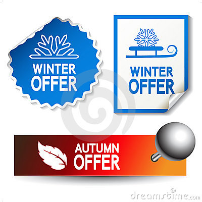 vector autumn and winter offer stickers