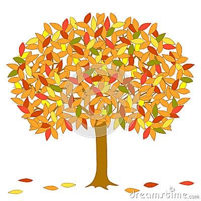Vector autumnal tree.
