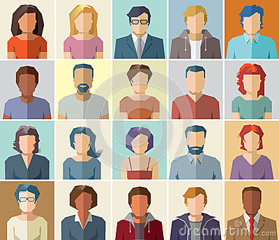Vector avatar profile icon set - set of people icons Vector Illustration