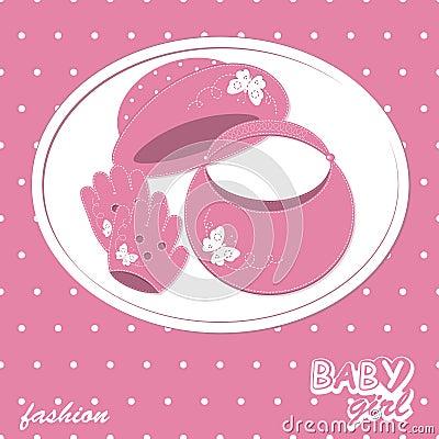 Vector baby girl scrapbook arrival card