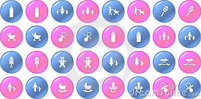 Vector baby items blue and pink button set