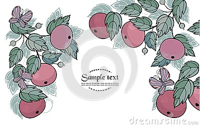Vector background with apples and butterfly - read