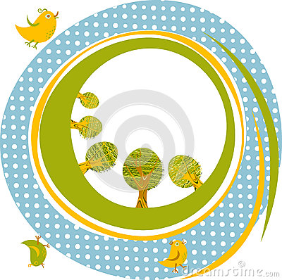 Vector background with birds and trees