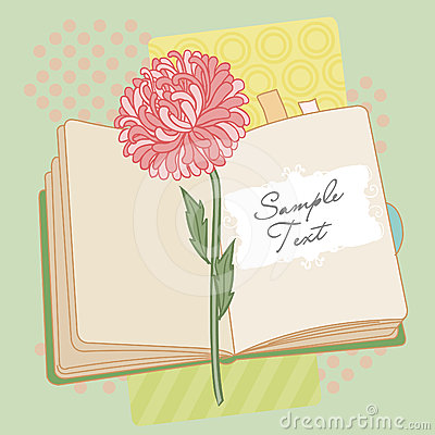 Vector background with book and flower