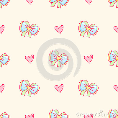Vector background with bows and hearts. Stock Photo