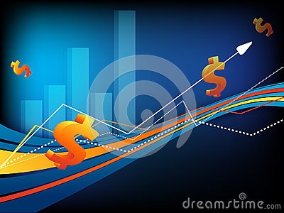 Vector background with  dollars