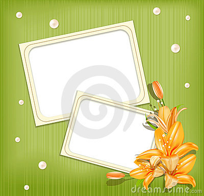 Vector background with frames for photos, lilies