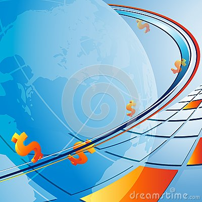 Vector background with globe and dollars