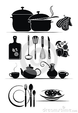 Vector background - kitchen utensils