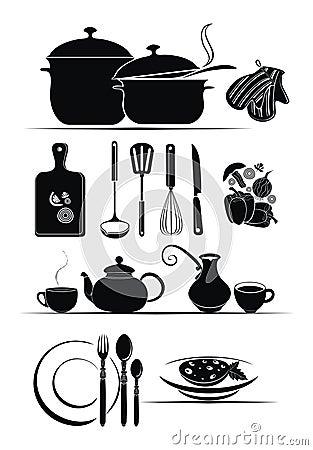 Vector background - kitchen utensils