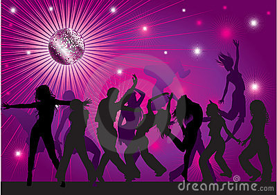 Vector background with people dancing in nightclub