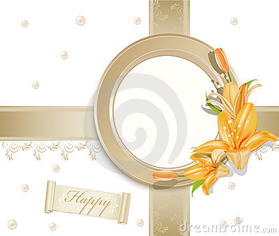 Vector background  with photo frame, lilies