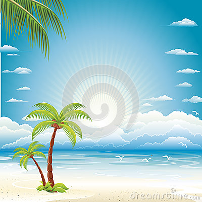 Vector background of sea beach